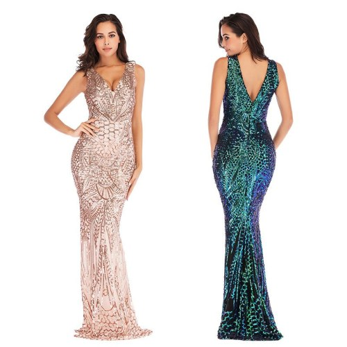 2021 Ladies Fashion Spring Autumn Winter Feast Sexy Deep V Neck Sleeveless Magic Party Sequins Floor Halloween day Long Dress
