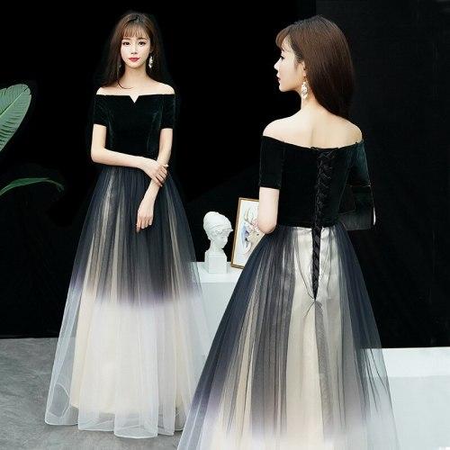 13 style Sexy Bridesmaid Dresses Gradient velour lace Simple Elegant Banquet Long Formal Dresses Vestido De Noche qipao