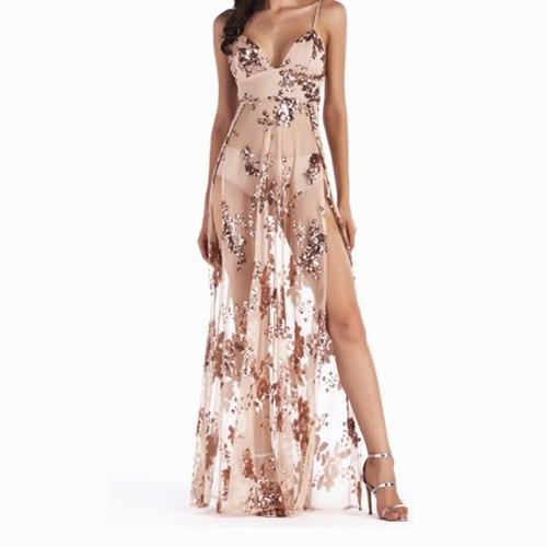 2021 New Summer Women Sleeveless V Neck Floral See Through Shiny Beach Backless Long Dress Sequin Maxi Dress Glitter Long Dress