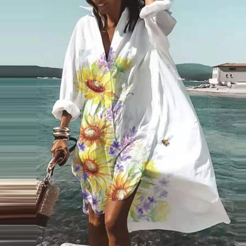 Spring Summer New 2021 V Neck Casual Print Shirt Dresses Fashion Elegant Long Sleeves Irregular Buttons Sexy Beach Party Dresses