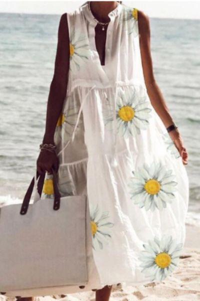 2021 European and American summer new style ladies printed dress small daisy V-neck sleeveless beach dress
