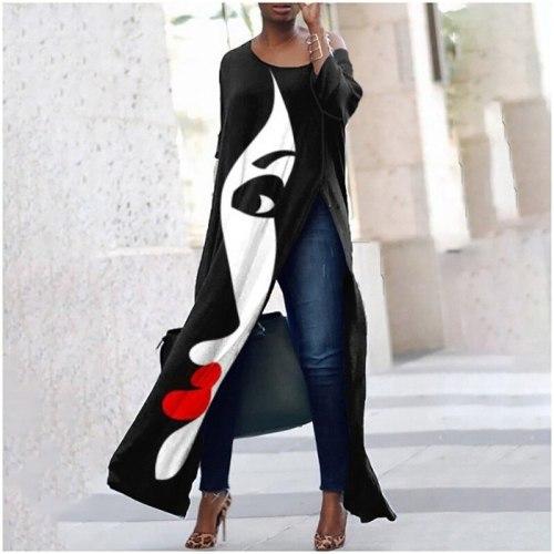 2021 Off Shoulder Women Dress Summer Abstract Print Long Dress Fashion O-neck Long Sleeve Loose Side Split Streetwear