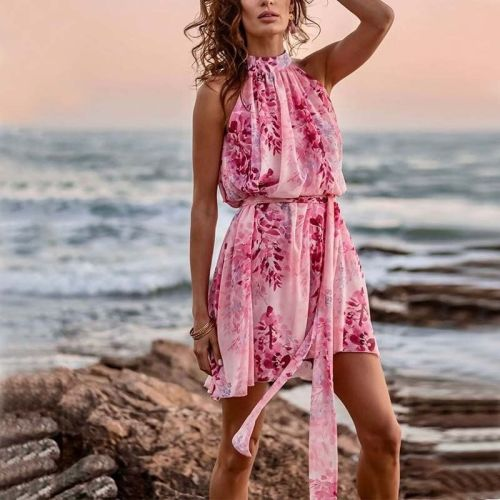 Summer Women Floral Sleeveless Strappy Dress Casual Printed Beach Holiday Party Sexy Dress 2021 Elegant Loose Female Clothing
