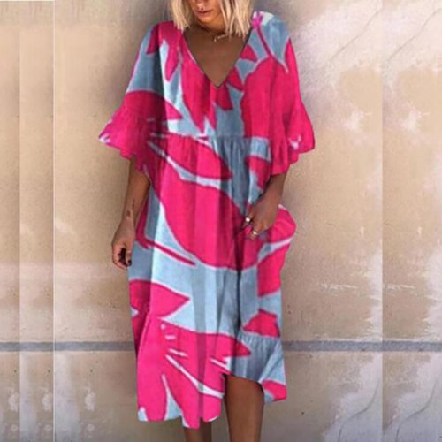 Summer V Neck Short Sleeve Loose Dress Fashion Vintage Abstract Print Party Dress Women Elegant Casual Lady Beach Dress Vestidos