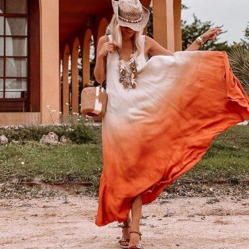 Casual Orange Patchwork Ruffle Loose Women Dress V Neck Sexy Sleeveless Gradient Summer Beach Female Dresses Vestidos 2021