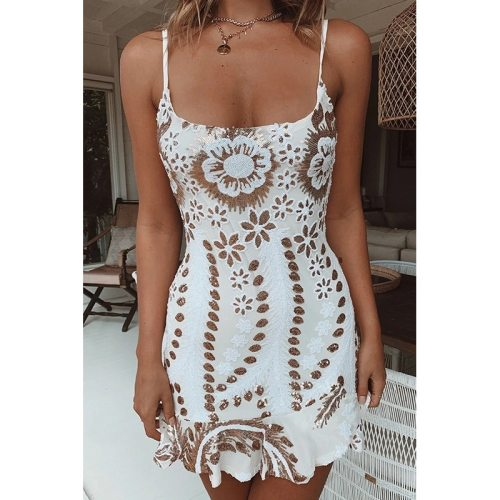 Fashion Women Sequins Flower Sleeveless Dress  Summer Cami dress Mini White Color Dresses Office Ladies Sashes Sexy Dresses