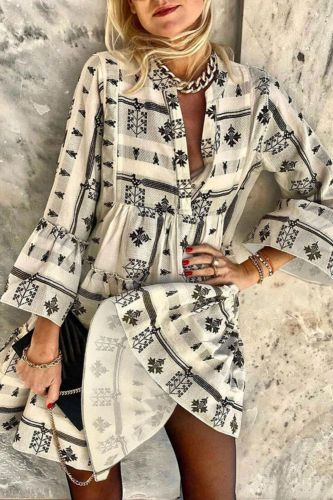 Geometric Printed Dresses for Women Vintage Women Flare Sleeve V Neck Dress Floral Print Long Sleeve Dress Streetwear Vestidos