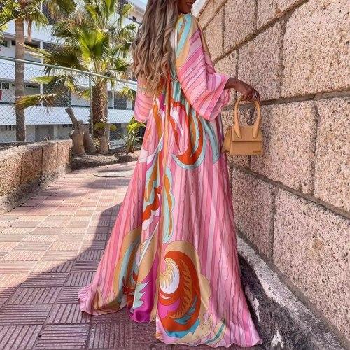 New Deep V Neck Printing Hem Maxi Dress Women Elegant Button Elastic Waist Long Party Dress Spring Summer Loose Slit Beach Dress