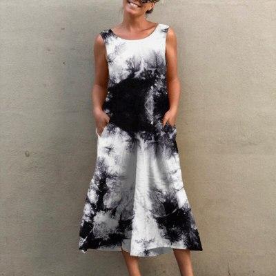 Women Elegant Tie-Dye Chain Print Jumpsuit Casual Sleeveless O Neck Romper Playsuits Summer Fashion Pocket Wide Leg Overalls XXL