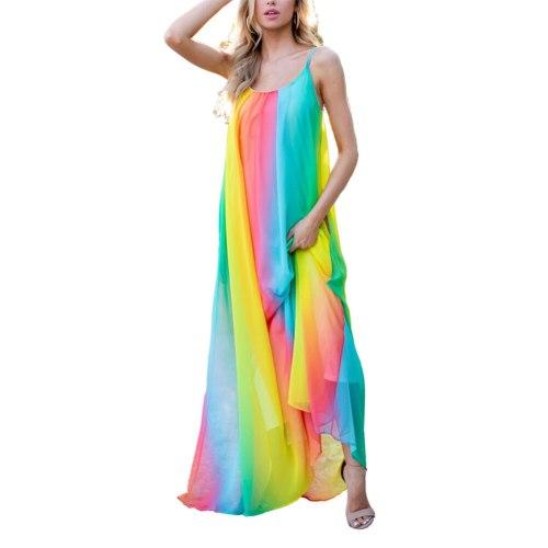 Boho Chiffon Beach Dress Women Bohemian Cozy Sleeveless Mesh Multi-Layer Long Gradient Sling Loose Colorful Long Loose Vestidos