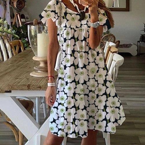 2021 New Summer Loose Short Sleeve  Dress Women Casual A Line Mini Sundresses Female Floral Print  Short Bohemian Party Vestidos