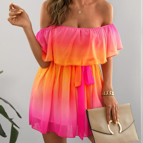 Women Summer Off Shoulder Dress Colorful Slash Neck Mini A Line Dress Backless Vacation Female 2021 New Short Beach Vestidos