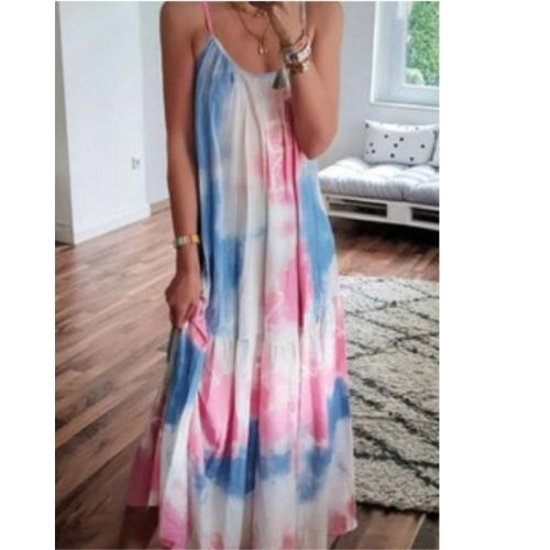 Tie Dye Summer Dress Women Sleeveless Maxi Dress Woman Long Dresses for Women 2021 Loose Print Spaghetti Strap Sundress Female