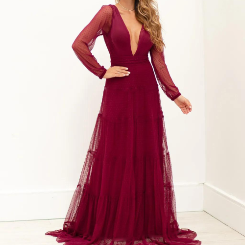Dress Autumn 2021 Solid Color Temperament Commute Lace Red V-neck Long Sleeve Backless Net Yarn Perspective Women's Dress