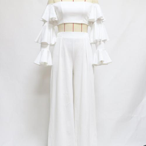 White Casual Pants Sets Women Off Shoulder Full Sleeve Crop Top High Waist Wide Leg Pants Women Elegant Slim Sets Female LD2002