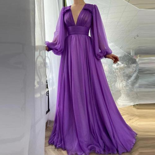 Elegant Purple Silk Chiffon Prom Dresses Long Puff Sleeves A Line V Neck Draped Top Empire Simple 2021 Evening Gowns 5.0