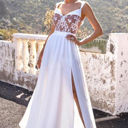 Vintage Lace Patchwork Long Dress Wedding Bridesmaid Party Maxi Dress Robe Femme 2021 Vestidos Pink