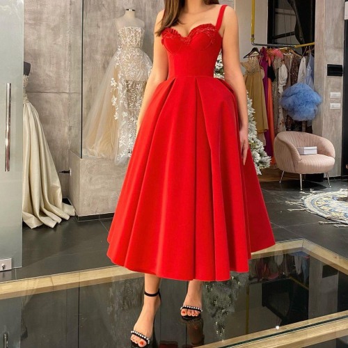 2021 New Red Velour Evening Dresses Spaghetti Straps Fluffy Skirt Short Prom Gowns Tea Length Party Guest Reception Dress