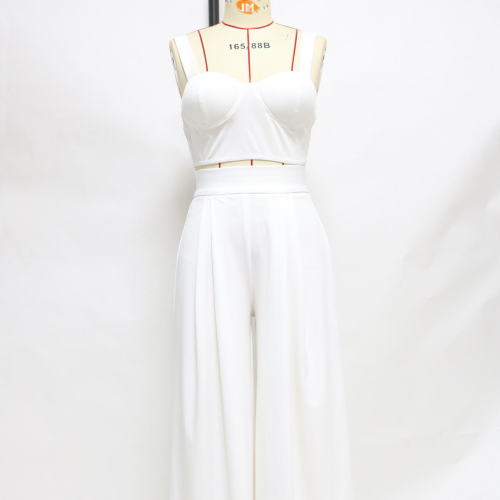2021 Fashion White Outfits Straps Crop Top Loose Wide Leg Pants Two Piece Set Casual Streetwear Summer Women Party Matching Sets