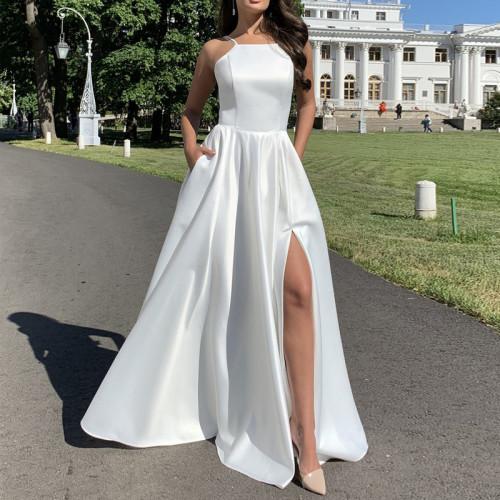 Women Fashion Sleeveless Strap Dress White Slim Maxi Dress Sexy Backless High Waist Dress Party Dress