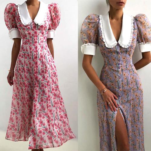Women Elegant Button Split Long Dress Fashion Vintage Puff Sleeve Lady Party Dress Sexy V Neck Floral Print Beach Dress Vestidos