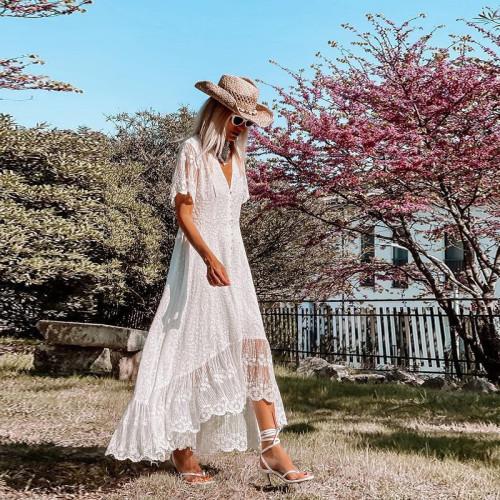 Elegant White Dresses Women Sexy Long Lace Dress V-Neck Short Sleeve Irregular Maxi Dress Summer Beach Holiday Sundress