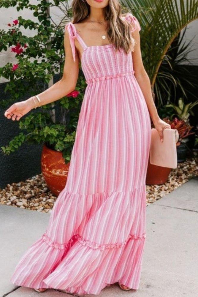 Colorful Striped Halter Maxi Dress Sexy Backless Long Dress for Women Print Beach Boho Slim Elegant Pleated Vestidos