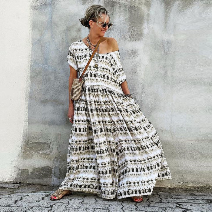 Summer Elegant Vintage Print Long Dresses Sexy Off Shoulder Loose Maxi Party Dress 2021 Women Casual Short Sleeve Dress
