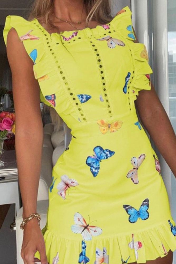 Sweet Butterfly Print Ruffle Women's Mini Dress Square Collar Flying Sleeve Female Hollow Out Dresses 2021 New Summer Vestidos