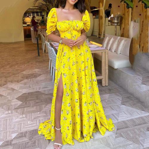 Summer Women Yellow Floral Print Short Sleeve Side Split Strapless Elegant Long Dress