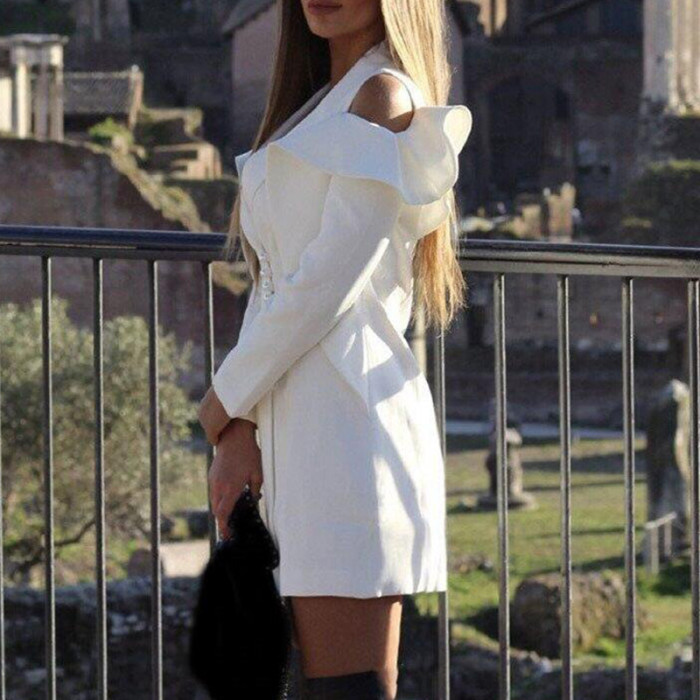 Solid Single Breasted Blazer Dress Women Notched Collar Color Pink Long Sleeve Dresses Elegant Offies Ladies Workwear Dress