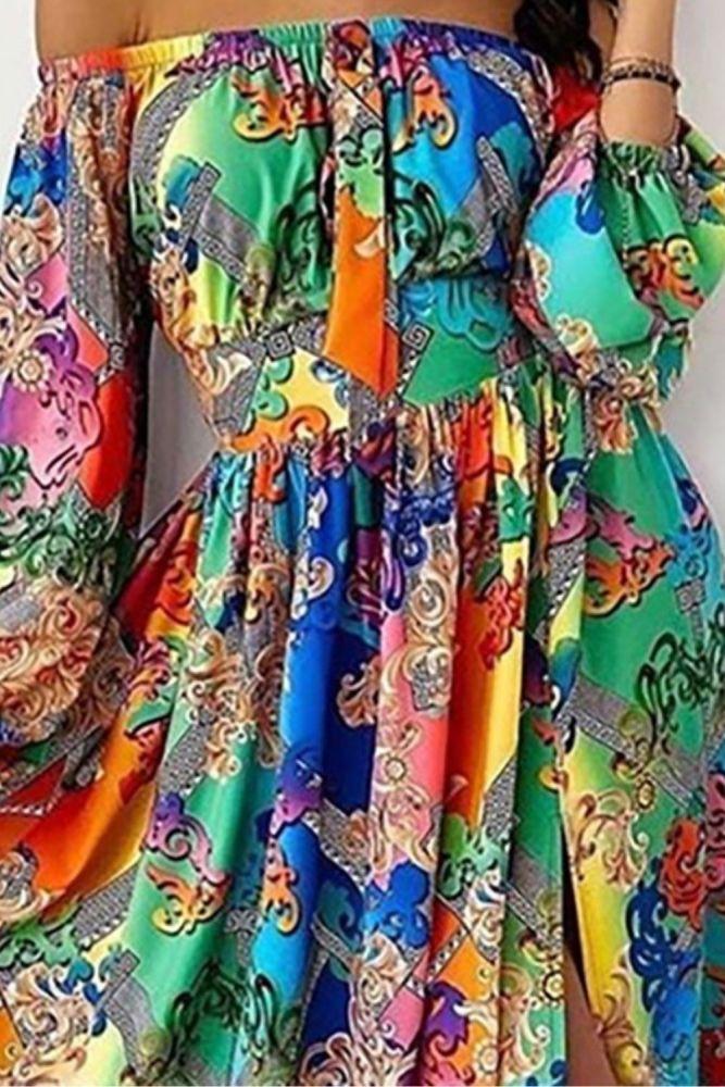Boho Floral Dress Women Summer Off Shoulder Colorful Slit Maxi Dress Sexy Long Sleeve Slash Neck A-Line Dresses Vestidos 2021