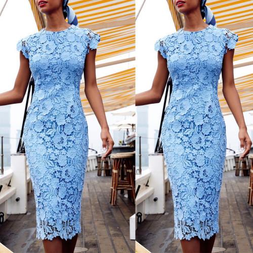 Blue Dress Sleeveless Summer Round Neck High Waist Lace Women's Dress Evening Party Clubwear Night Pencil Dress Woman