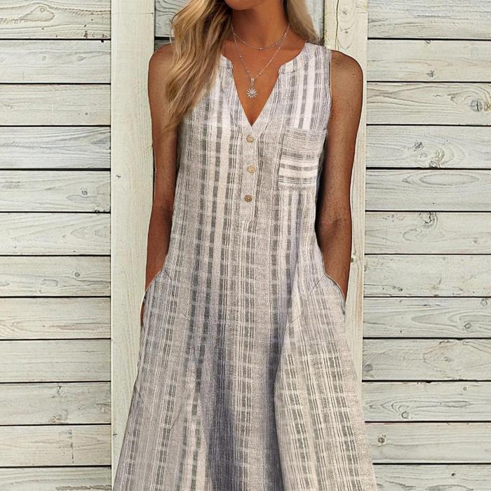 Retro Pattern Print Pocket Women Party Dress Spring V Neck Button A-Line Office Lady Dress Summer Sleeveless Loose Beach Dresses