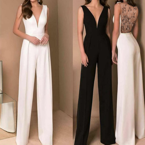 Sexy Jumpsuit Women V-neck Slim Mesh Lace Backless Straight Ladies Elegant Fashion Casual Empire Long Jumpsuits