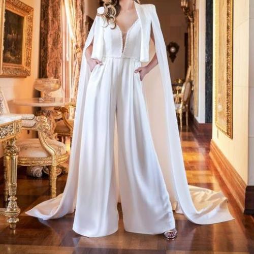 Vintage Satin Wedding Dresses Jumpsuit Beading V Neck Bridal Gowns vestido de novia Illusion Backless Boho Wedding Dress