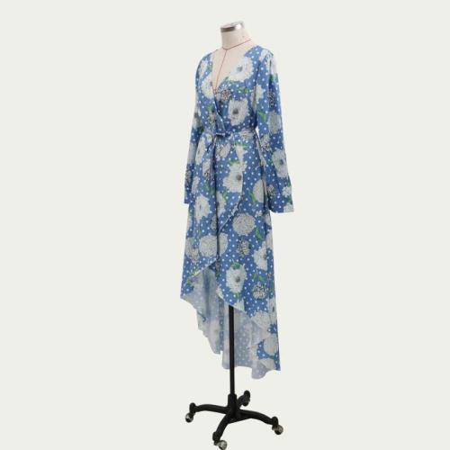 Dresses Beach Tunic Women Summer Maxi For Dress Woman Midi Boho Kaftan Fall 2021 New Neck Long Sleeve Lace Up Print Polyester