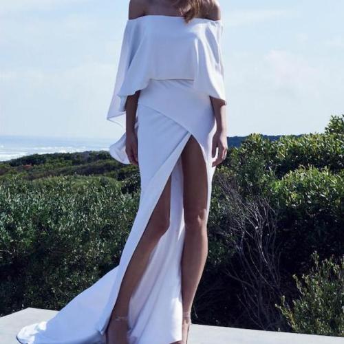 European and American New Women's Dress Hot Sexy off-Shoulder High Open Dress