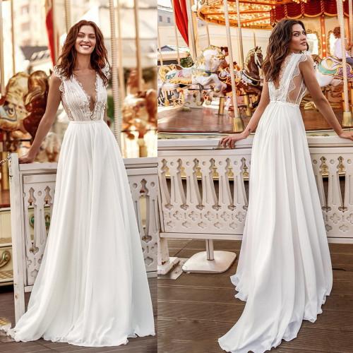 Princess Wedding Dress V Neck Lace Bride Dress Chiffon A-Line Backless Boho Girl Dress Vestidos