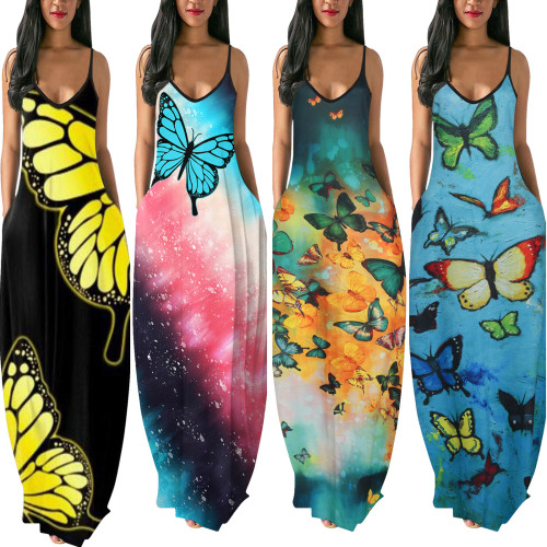 2021New Fashion Butterfly Print Milk Silk Hanging Wide Loose One-Piece Long Sleeveless Dress Summer Women's Clothes Beach Style