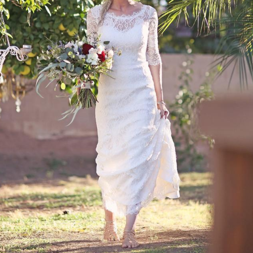 Full Lace Boho Wedding Dress Mermaid Half Sleeve Backless Floor Length Bohemian vestido de noiva Bridal Gowns Simple Design