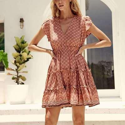 Floral Sleeve Women Dress Summer Slim Waist A-Line Ruffles V-Neck Short Dress Boho Beach Mini Dresses
