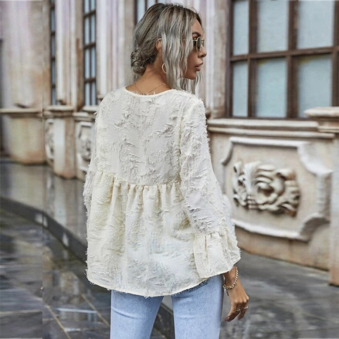 2021 Women Clothes Autumn Sexy V Neck Solid Blouse Shirt Office Lady Casual Loose Flare Long Sleeve Harajuku Korean Tops