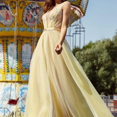 Party Sexy Dress Women Backless Slim Mesh Dresses Yellow Ladies Lace V-neck Big Swing Spring Summer Long Dress