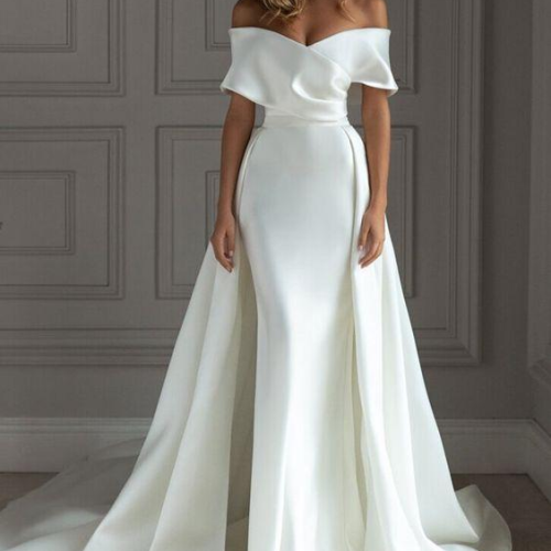 Satin Mermaid Wedding Dress With Detachable Train Short Sleeves Off The Shoulder Trumpt Bridal Gown Plus Size 2021