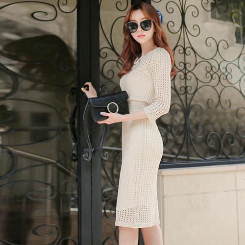 Fashion Elegant Womens New Arrival Three-quarter Sleeves Spring Dress Knit Hollowing Out Bag Hip Slim Knit Dress