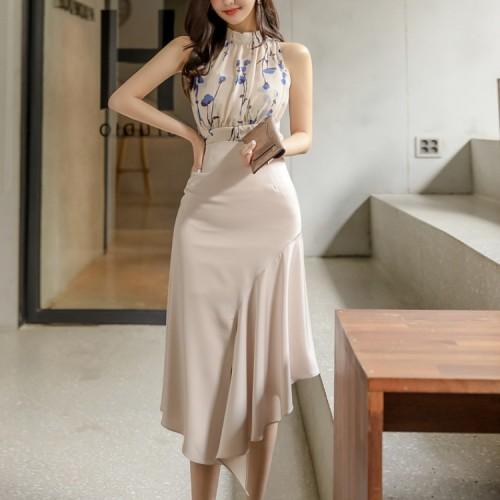 Runway 2021 Summer Women Sets Sexy Chiffon Print Sleeveless Top + Fashion High Waist Irregular Skirt Two Piece Set