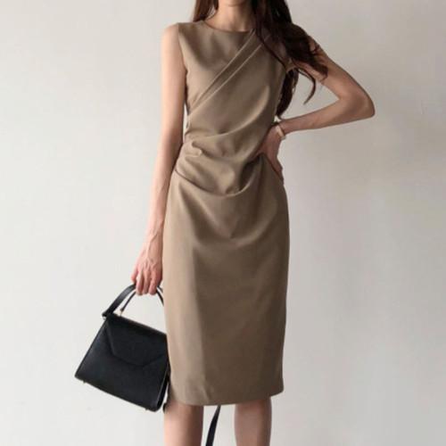 Elegant Women Office Dress New 2021 Summer Sleeveless Bodycon Dresses Retro Women Midi Solid Black Long Robe Vestidos