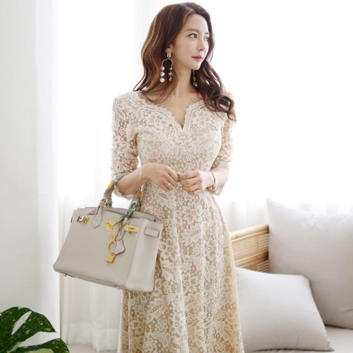 Autumn Womens Elegant Sexy Crochet Hollow Out Lace dress Party Evening Special Occasion A-line Midi Long work Vestidos