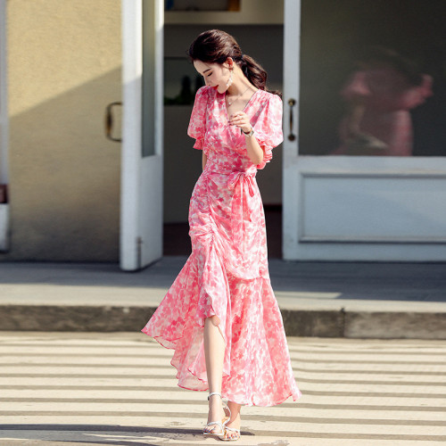 2021 Summer Vintage Floral Split Dress Women French Elegant Party Long Print Dress Sweet Irregular V Neck Holiday Beach Dresses